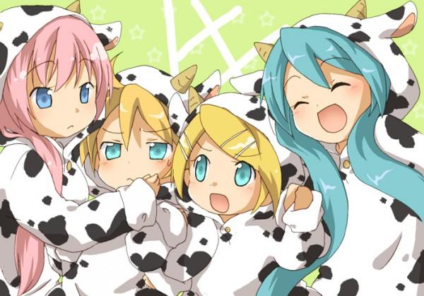 Tags: Anime, Hidacafe, VOCALOID, Kagamine Len, Kagamine Rin, Hatsune Miku, Megurine Luka, Ushimimi, Cow Print, Cow Costume, Pixiv, Fanart