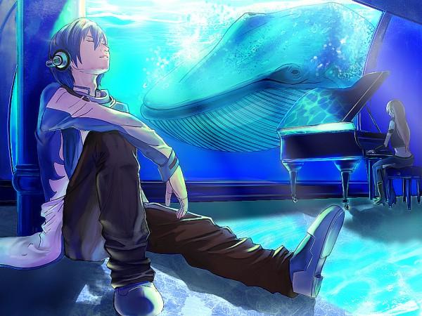 Tags: Anime, Ranmaru (Iro), VOCALOID, Megurine Luka, KAITO, Whale, Aquarium, Wallpaper