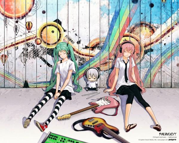 Tags: Anime, redjuice, VOCALOID, Hatsune Miku, Megurine Luka, Guitar Strap, Chucks (Shoes), Scan, Fanart, Wallpaper