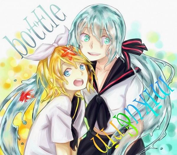 Tags: Anime, Bluecrown619, VOCALOID, Kagamine Rin, Hatsune Miku, Starfish, Pixiv, Bottle Design