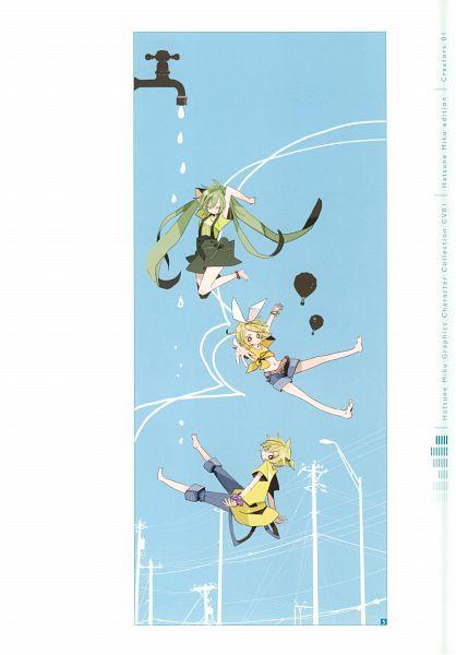 Tags: Anime, Yoshiki / 由杞, Hatsune Miku Graphics Character Collection Cv01 Hatsune Miku, VOCALOID, Kagamine Len, Kagamine Rin, Hatsune Miku, Self Scanned, Scan, Mobile Wallpaper
