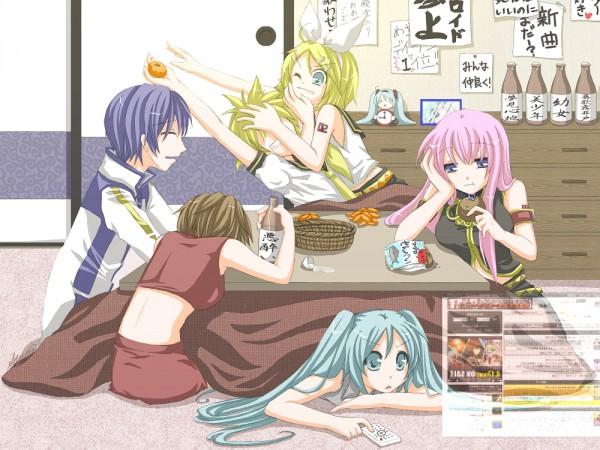 Tags: Anime, Pixiv Id 9282, VOCALOID, Kagamine Rin, MEIKO (VOCALOID), Megurine Luka, Hatsune Miku, KAITO, Kagamine Len, Floating Screen, Holographic Screen, Remote, Cabinet