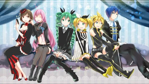 Tags: Anime, kikuchi (kkc), Project DIVA 2nd, Project DIVA F 2nd, Project DIVA F, Project DIVA Extend, VOCALOID, KAITO, Hatsune Miku, Kagamine Len, Kagamine Rin, MEIKO (VOCALOID), Megurine Luka