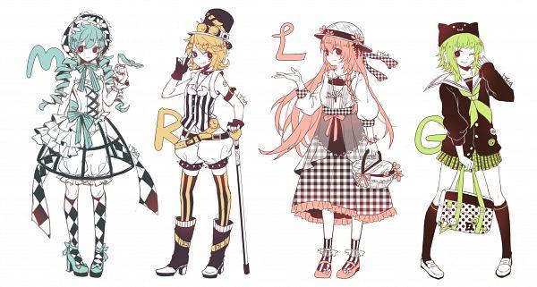 Tags: Anime, Itsia, VOCALOID, GUMI, Hatsune Miku, Megurine Luka, Kagamine Rin, Cat Hat, Wallpaper, Facebook Cover, Pixiv, Fanart From Pixiv, Fanart