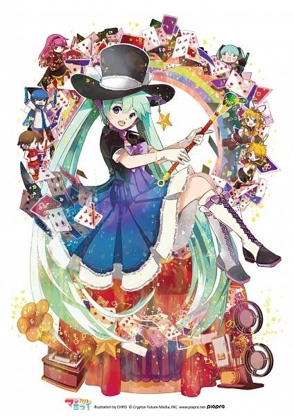 Tags: Anime, CHRIS, Project DIVA Arcade, VOCALOID, Kagamine Len, Kagamine Rin, MEIKO (VOCALOID), Megurine Luka, Hatsune Miku, KAITO, Magician (Entertainer), Gramophone, Magical Mirai
