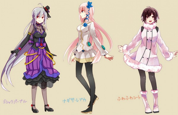 Tags: Anime, Pixiv Id 2283286, Sega, Project DIVA Extend, Project DIVA 2nd, VOCALOID, Yowane Haku, MEIKO (VOCALOID), Megurine Luka, Project DIVA Gothic Purple, Pixiv, Project DIVA Fluffy Coat, Project DIVA Nagisa Replica