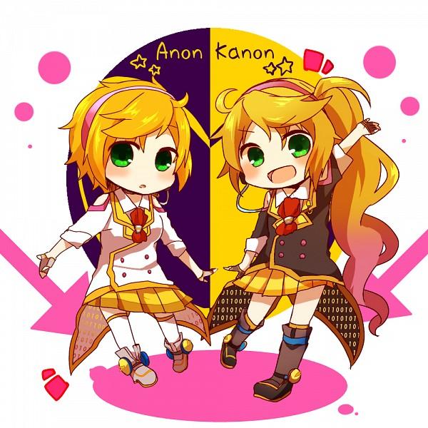 Tags: Anime, Pixiv Id 5015785, VOCALOID, Anon (VOCALOID), Kanon (VOCALOID), Yellow Skirt, Pixiv, Fanart, Fanart From Pixiv