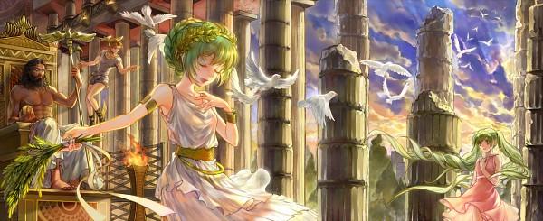 Tags: Anime, relear, VOCALOID, Zeus, Kagamine Len, Hatsune Miku, GUMI, Hermes (Mythology), God, Laurel Wreath, Greek Clothes, Column, Toga
