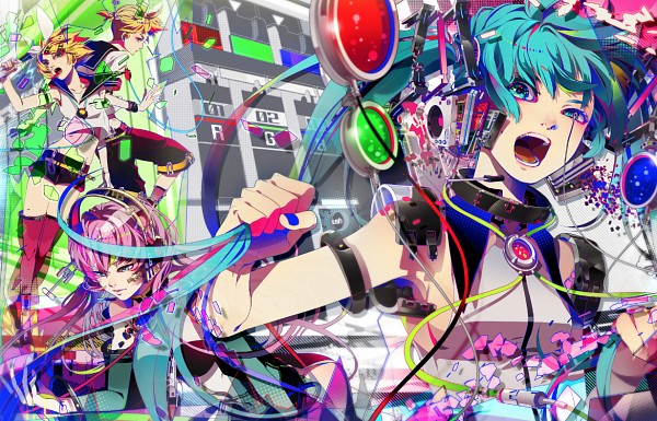 Tags: Anime, Akiakane, VOCALOID, Kagamine Rin, Megurine Luka, Hatsune Miku, Kagamine Len, Pulling Hair, Bright Colors, Orange Nails, Pulling, PNG Conversion, Fanart