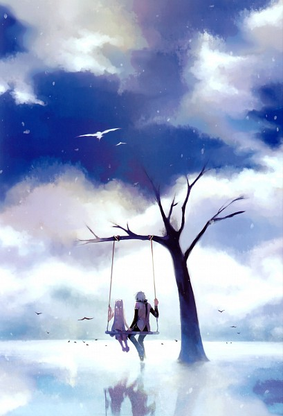 Tags: Anime, CHRIS, VOCALOID, Hatsune Miku, Hatsune Mikuo, V Bird, Swing, PNG Conversion, Fanart, Mobile Wallpaper, Pixiv