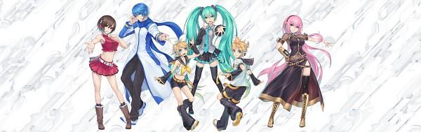 Tags: Anime, Nidy‐2D‐, VOCALOID, Hatsune Miku, Kagamine Len, Kagamine Rin, MEIKO (VOCALOID), Megurine Luka, KAITO, Tie Clip, Aqua Neckwear, Yellow Footwear, Leg Warmers