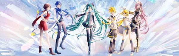 Tags: Anime, iXima, VOCALOID, Hatsune Miku, KAITO, Kagamine Len, Kagamine Rin, MEIKO (VOCALOID), Megurine Luka, Side Slit, Tie Clip, Unzipped, Aqua Neckwear