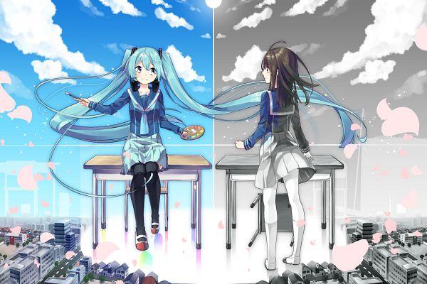 Tags: Anime, Sakuragi Ren, VOCALOID, Hatsune Miku, Fan Character, Palette (Object), Fanart From Pixiv, PNG Conversion, Fanart, Pixiv