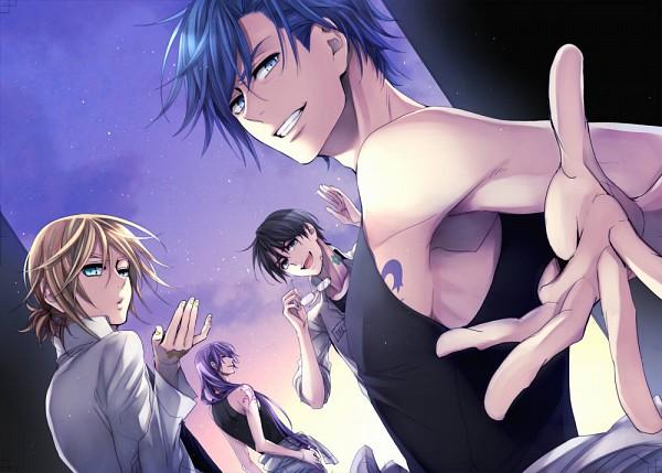 Tags: Anime, Suzunosuke, VOCALOID, KAITO, Kagamine Len, Hiyama Kiyoteru, Kamui Gakupo, Gensou Airly, Jacket Around Waist, Blowing A Kiss, Pixiv, Fanart
