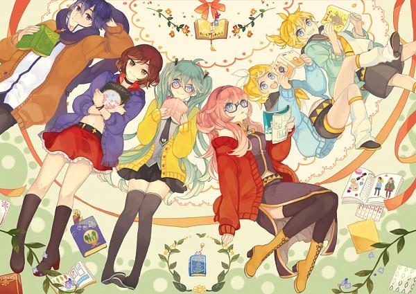 Tags: Anime, Kyang692, VOCALOID, Kagamine Len, Kagamine Rin, MEIKO (VOCALOID), Megurine Luka, Hatsune Miku, KAITO, Aqua Outerwear, Yellow Outerwear, Pixiv, Fanart From Pixiv