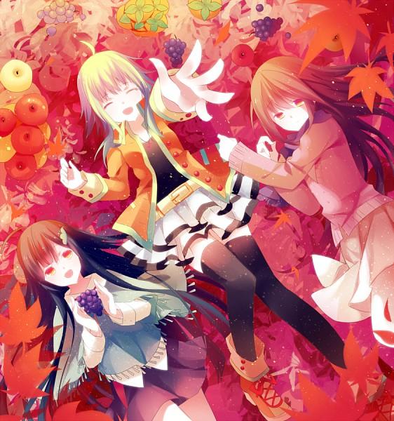 Tags: Anime, Nanna (Irasutokanakili), Voiceroid, VOCALOID, Touhoku Zunko, kokone (VOCALOID), GUMI, Persimmon (Fruit), Fanart, Fanart From Pixiv, Pixiv