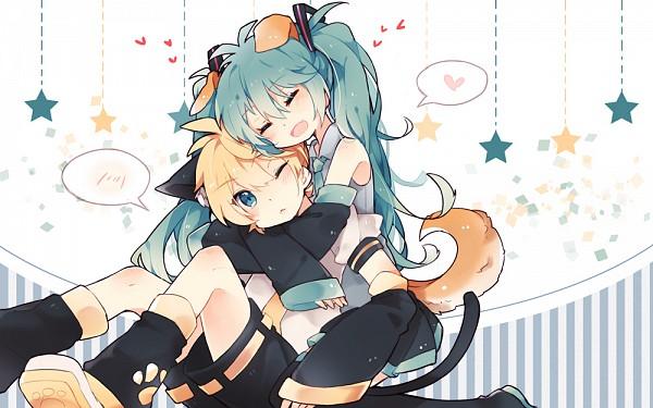 Tags: Anime, Feng Hu, VOCALOID, Hatsune Miku, Kagamine Len, Dog Tail, Cube, Fanart From Pixiv, Pixiv, Fanart, LenMiku
