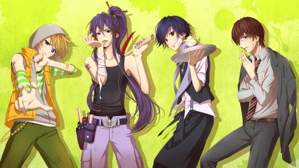 Tags: Anime, Hima (Abgata), VOCALOID, Hiyama Kiyoteru, Kamui Gakupo, KAITO, Kagamine Len, Gensou Airly, Pixiv, Facebook Cover