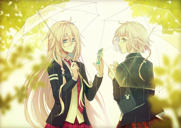 Tags: Anime, Pixiv Id 4711042, VOCALOID, IA, ONE (CeVIO), Holding Phone, Key Chains, See Through Umbrella, Transparent Object, Fanart, Fanart From Pixiv, Pixiv