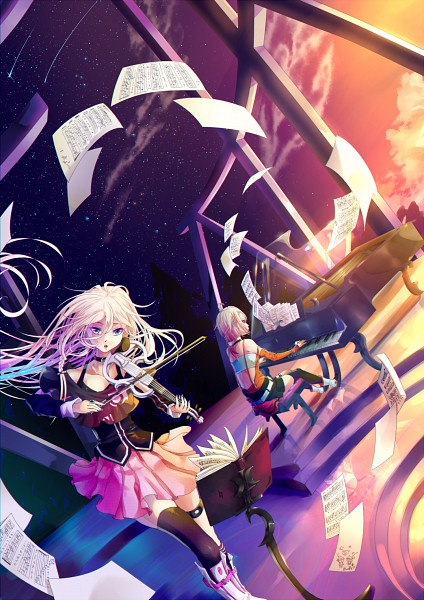 Tags: Anime, BlueFly-shi, VOCALOID, ONE (CeVIO), IA, Shooting Stars, Playing Violin, Playing Piano, Shoulder-less Shirt, Flying Paper, Sheet Music, Music Stand, Fanart From Pixiv