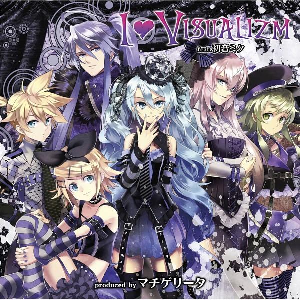 Tags: Anime, Osamu (Jagabata), VOCALOID, Kamui Gakupo, Megurine Luka, Hatsune Miku, Kagamine Len, Kagamine Rin, GUMI, Striped Armwear, Laced Up, CD (Source), PNG Conversion