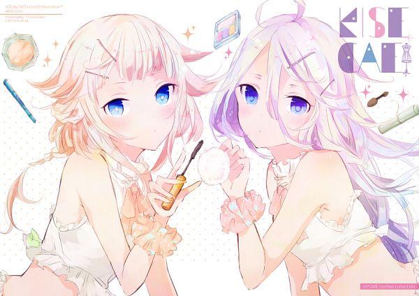 Tags: Anime, Sotsunaku, VOCALOID, IA, ONE (CeVIO), Orange Neckwear, Orange Ribbon, Fanart From Pixiv, PNG Conversion, Pixiv, Fanart
