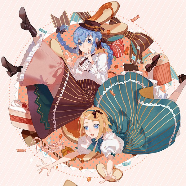 Tags: Anime, Fen Renlei, VOCALOID, Hatsune Miku, Kagamine Rin, Lace Trim, Pancakes, Brown Headwear, Syrup, Brown Hat, Striped Skirt, Fanart, Pixiv