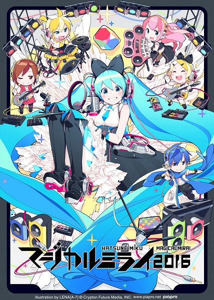 Tags: Anime, Lena (zoal), VOCALOID, Kagamine Len, Kagamine Rin, MEIKO (VOCALOID), Megurine Luka, KAITO, Hatsune Miku, Speaker, Cube, Keyboard (Instrument), Spotlight