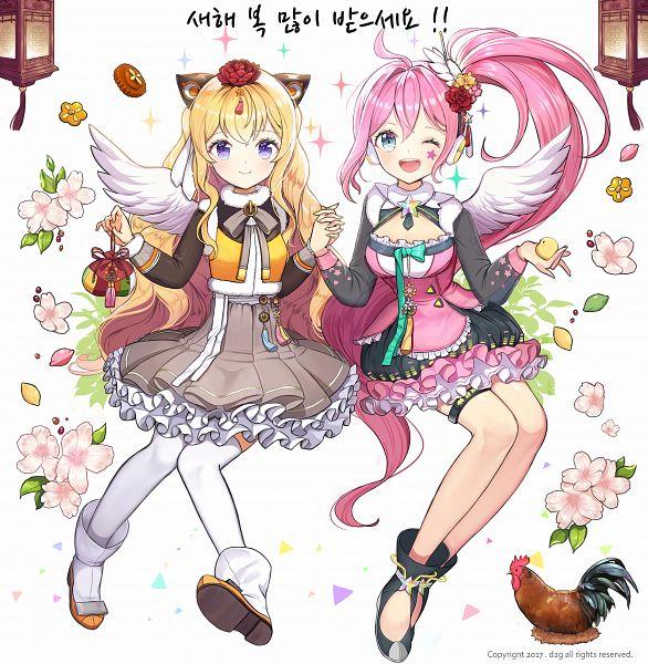 Tags: Anime, Pixiv Id 18048361, VOCALOID, UNI (VOCALOID), SeeU, Korean Clothes, Chicken, Pixiv, Fanart From Pixiv, Happy 2017, PNG Conversion, Fanart
