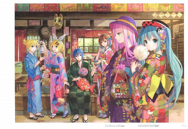 Tags: Anime, Fuji Choko, VOCALOID, Megurine Luka, Hatsune Miku, KAITO, Kagamine Len, MEIKO (VOCALOID), Kagamine Rin, Crease, Japanese Architecture, Holding Bag, Cotton Candy