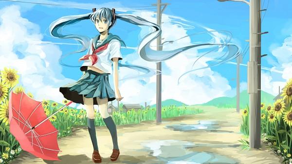 Tags: Anime, Pixiv Id 2086700, VOCALOID, Hatsune Miku, Regenschirm, Wallpaper, HD Wallpaper