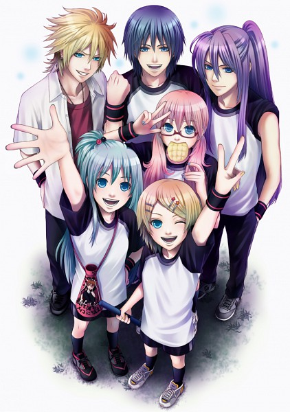 Tags: Anime, Koto Fuzuki, VOCALOID, Kagamine Len, Kagamine Rin, Kamui Gakupo, Megurine Luka, KAITO, Hatsune Miku, Melon Bread, Mobile Wallpaper