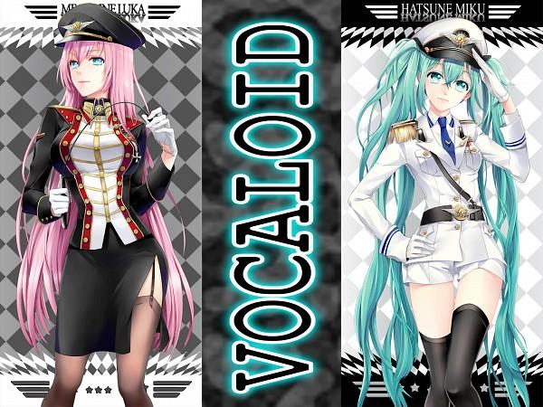 Tags: Anime, Cocoon (Artist), VOCALOID, Hatsune Miku, Megurine Luka, Side Slit, White Robe, Riding Crop, Edited, Fanart, Wallpaper