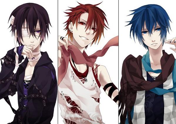 Tags: Anime, Kyou Zip, VOCALOID, AKAITO, KAITO, Taito, Punk, Gothic Outfit, Fanart, Pixiv, Yandereloid