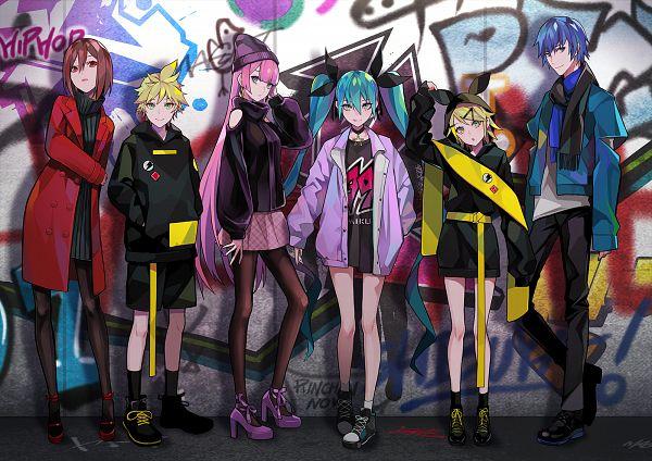 Tags: Anime, LAM, VOCALOID, Megurine Luka, Hatsune Miku, KAITO, Kagamine Len, Kagamine Rin, MEIKO (VOCALOID), Graffiti