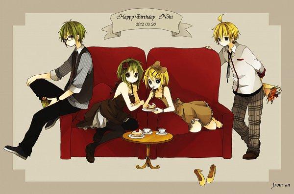 Tags: Anime, An (Pixiv1170947), VOCALOID, GUMI, Kagamine Len, GUMO, Kagamine Rin, Holding Fork, Brown Dress, Yellow Footwear, Pixiv, Fanart
