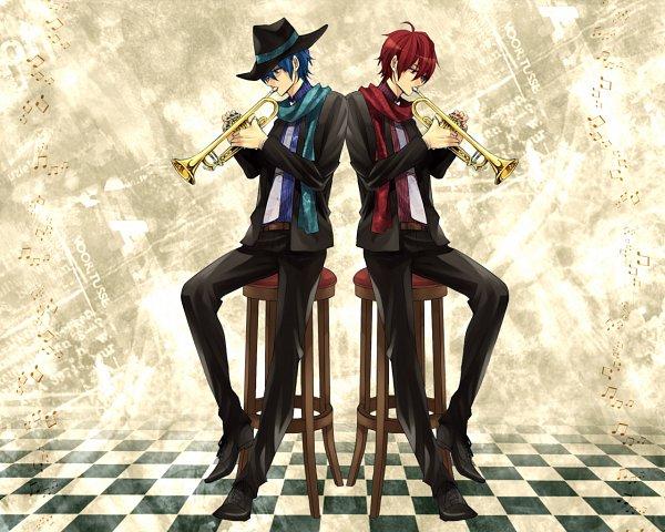 Tags: Anime, Katase0708, VOCALOID, KAITO, AKAITO, Trumpet, Fanart, Pixiv