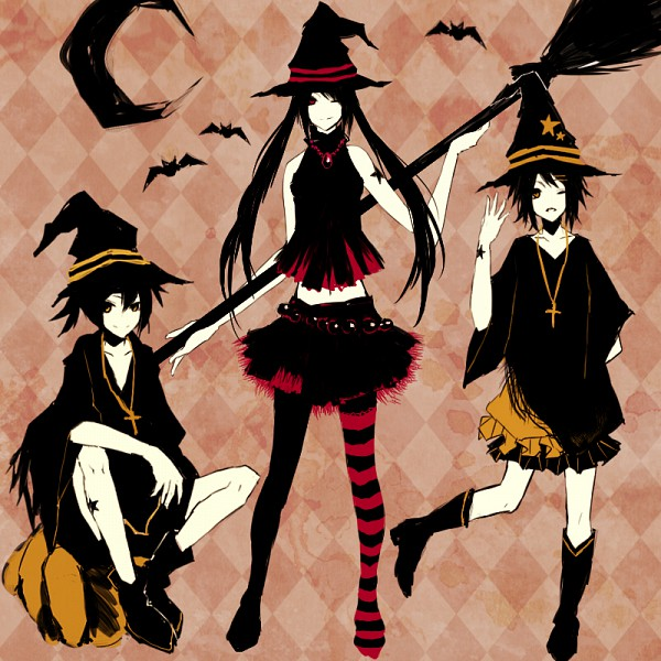 Tags: Anime, Kana (kwbr32), VOCALOID, Hatsune Miku, Kagamine Len, Kagamine Rin, Pixiv