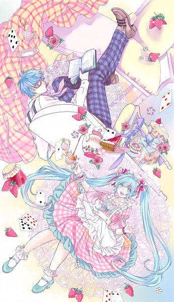 Tags: Anime, Pixiv Id 1661839, VOCALOID, KAITO, Hatsune Miku, Alice in Wonderland (Parody), Jello