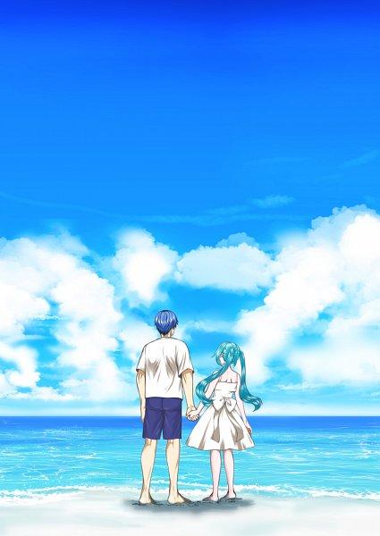 Tags: Anime, Pixiv Id 1114989, VOCALOID, Hatsune Miku, KAITO, KaiMiku