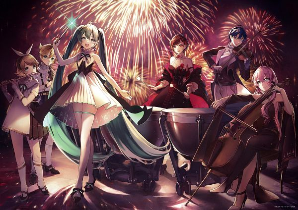 Tags: Anime, Pixiv Id 2680940, VOCALOID, Megurine Luka, Hatsune Miku, KAITO, Kagamine Len, Kagamine Rin, MEIKO (VOCALOID), Playing Violin, Tambourine, Fanart From Pixiv, Fanart