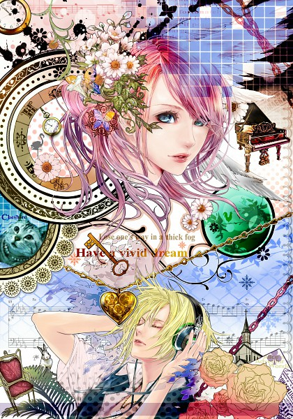Tags: Anime, Rina (mangaka), VOCALOID, Megurine Luka, Kagamine Len, Mobile Wallpaper
