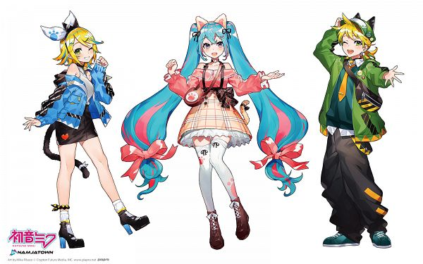 Tags: Anime, Mika Pikazo, VOCALOID, Hatsune Miku, Kagamine Len, Kagamine Rin, 1600x1000 Wallpaper, Cat Hat, Fanart, Fanart From Pixiv, Official Art, Wallpaper, Product Advertising