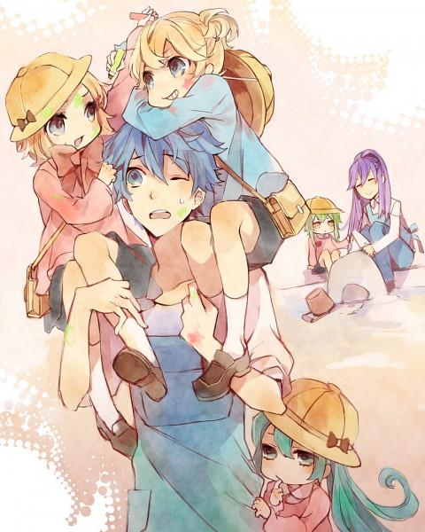 Tags: Anime, Kuroyuki, VOCALOID, Kamui Gakupo, Hatsune Miku, KAITO, Kagamine Len, GUMI, Kagamine Rin, Crayon, Bucket, Sandcastle, Pixiv