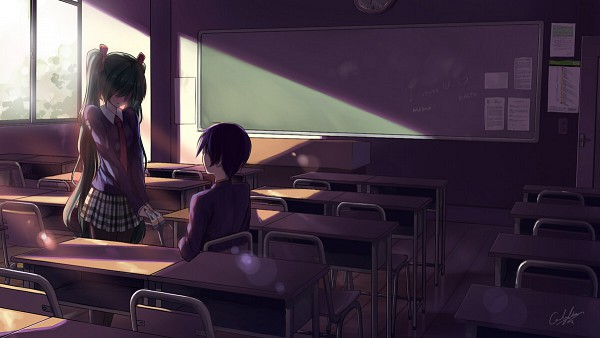 Tags: Anime, Caidychen, VOCALOID, Hatsune Miku, KAITO, Confession, Chalkboard, Ticket, Wallpaper, Pixiv, Facebook Cover
