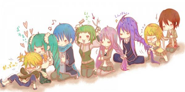 Tags: Anime, VOCALOID, Megurine Luka, Hatsune Miku, GUMI, KAITO, Kamui Gakupo, Kagamine Len, MEIKO (VOCALOID), Kagamine Rin, Braiding, Comb, Hair Brushing
