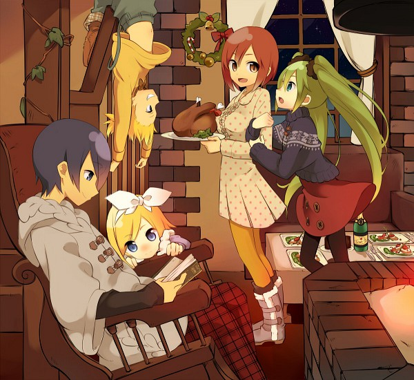 Tags: Anime, Kiyamachi, VOCALOID, Kagamine Len, Kagamine Rin, MEIKO (VOCALOID), Hatsune Miku, KAITO, Spotted Dress, Candy Cane, Rocking Chair, Fireplace, Champagne