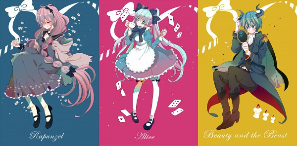 Tags: Anime, Shinji (シンジ), Beauty and the Beast, Alice in Wonderland, Rapunzel, VOCALOID, KAITO, Alice (Alice in Wonderland), Hatsune Miku, Beast (Beauty and the Beast), Megurine Luka, Rapunzel (Character), Facebook Cover