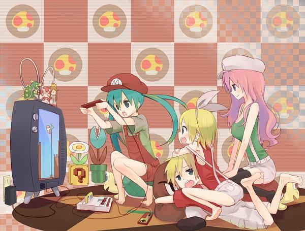 Tags: Anime, Pixiv Id 219740, VOCALOID, Megurine Luka, Kagamine Len, Kagamine Rin, Hatsune Miku, Feuerblume, Mario (Cosplay), Turtle