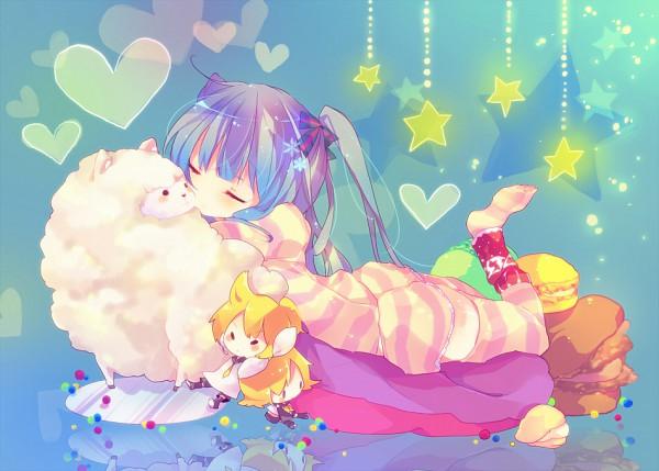 Tags: Anime, Ana (Rznuscrf), VOCALOID, Kagamine Rin, Hatsune Miku, Kagamine Len, Hanging Star, Alpaca